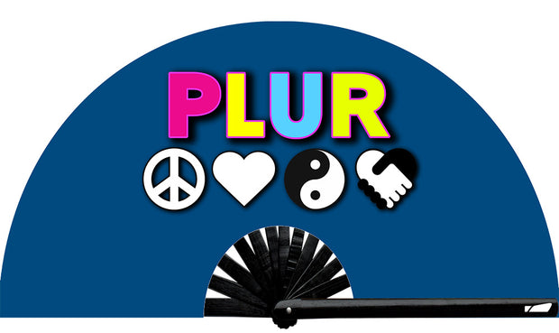 PLUR fan, from Yuppie Boy, by Wear It!  Blacklight / UV responsive!  Find your party accessories for your next rave, music festival, circuit party, or night out at the club at Wear It Apparel! The only place for custom hand fans, plastic fans, bamboo fans, and metal hand fans, neon parasols, and custom parasols and the only place for neon & blacklight fans and parasols. Clack that fan away. #NowWearIt #Clackthatfan