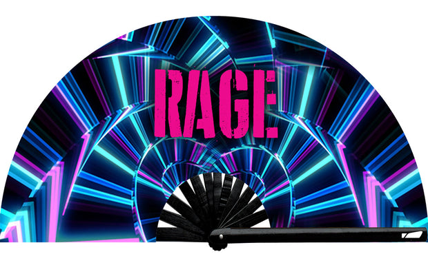 Rave Rage Neon fan, from Yuppie Boy, by Wear It!  Blacklight / UV responsive!  Find your party accessories for your next rave, music festival, circuit party, or night out at the club at Wear It Apparel! The only place for custom hand fans, plastic fans, bamboo fans, and metal hand fans, neon parasols, and custom parasols and the only place for neon & blacklight fans and parasols. Clack that fan away. #NowWearIt #Clackthatfan