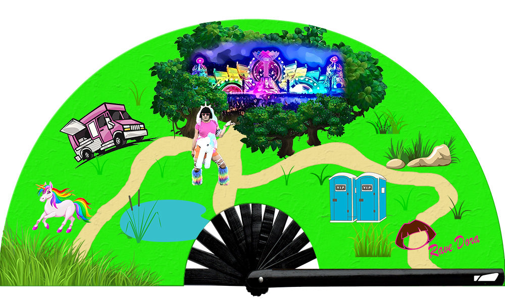 From the infamous Rave Dora herself, exclusively with Wear It! Neon Rave Dora Map fan, from Yuppie Boy, by Wear It!  Blacklight/UV responsive!  Find your party accessories for your next rave, music festival, circuit party, or night out at the club at Wear It Apparel! The only place for custom hand fans, plastic fans, bamboo fans, and metal hand fans, neon parasols, and custom parasols and the only place for neon & blacklight fans and parasols. Clack that fan away. #NowWearIt #Clackthatfan