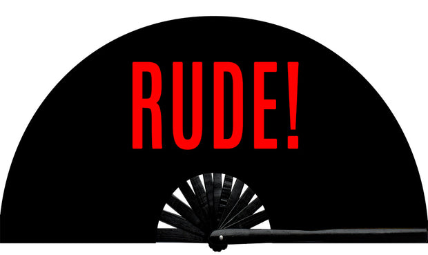 No need to be rude! Rude fan, from Yuppie Boy, by Wear It! Blacklight / UV responsive!  Find your party accessories for your next rave, music festival, circuit party, or night out at the club at Wear It Apparel! The only place for custom hand fans, plastic fans, bamboo fans, and metal hand fans, neon parasols, and custom parasols and the only place for neon & blacklight fans and parasols. Clack that fan away. #NowWearIt #Clackthatfan
