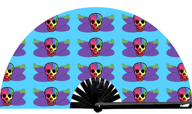 Skull & Boners fan, from Yuppie Boy, by Wear It!  Blacklight / UV responsive!  Find your party accessories for your next rave, music festival, circuit party, or night out at the club at Wear It Apparel! The only place for custom hand fans, plastic fans, bamboo fans, and metal hand fans, neon parasols, and custom parasols and the only place for neon & blacklight fans and parasols. Clack that fan away. #NowWearIt #Clackthatfan