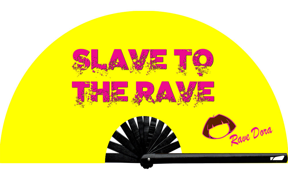 From the infamous Rave Dora herself, exclusively with Wear It!  Slave To The Rave fan, from Yuppie Boy, by Wear It!  Blacklight/UV responsive!  Find your party accessories for your next rave, music festival, circuit party, or night out at the club at Wear It Apparel! The only place for custom hand fans, plastic fans, bamboo fans, and metal hand fans, neon parasols, and custom parasols and the only place for neon & blacklight fans and parasols #NowWearIt