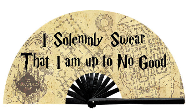 This custom fan was designed by Wear It customer Doug J, who solemnly swears to be up to no good! Up To No Good fan, from Yuppie Boy, by Wear It!  Find your party accessories for your next rave, music festival, circuit party, or night out at the club at Wear It Apparel! The only place for custom hand fans, plastic fans, bamboo fans, and metal hand fans, neon parasols, and custom parasols and the only place for neon & blacklight fans and parasols. Clack that fan away. #NowWearIt #Clackthatfan