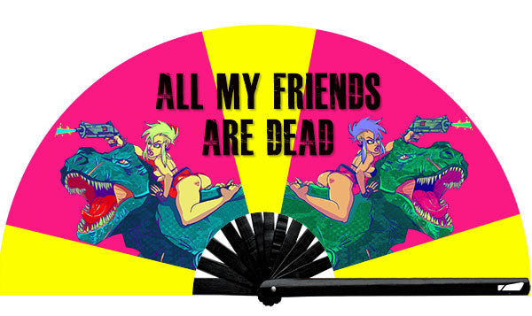 All My Friends Are Dead fan, from Yuppie Boy, by Wear It!  Blacklight/UV responsive!  Find your party accessories for your next rave, music festival, circuit party, or night out at the club at Wear It Apparel! The only place for custom hand fans, plastic fans, bamboo fans, and metal hand fans, and the only place for neon & blacklight fans #NowWearIt
