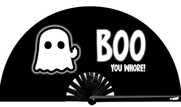 Boo! You Bitch from Yuppie Boy, by Wear It!!  Find your party accessories for your next rave, music festival, circuit party, or night out at the club at Wear It Apparel! The only place for custom hand fans, plastic fans, bamboo fans, and metal hand fans, neon parasols, and custom parasols and the only place for neon & blacklight fans and parasols. Clack that fan away. #NowWearIt #Clackthatfan