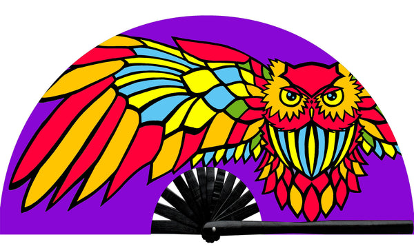 Rave Neon Night Owl Fan, from Suliman Nawid's Stained Canvas Collection, by Wear It!  Blacklight / UV responsive!  Find your party accessories for your next rave, music festival, circuit party, or night out at the club at Wear It Apparel! The only place for custom hand fans, plastic fans, bamboo fans, and metal hand fans, and the only place for neon & blacklight fans #NowWearIt