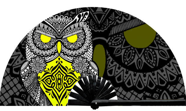 Rave Neon Mandala Owl fan, from Suliman Nawid's Stained Canvas Collection, by Wear It!  Blacklight / UV responsive!  Find your party accessories for your next rave, music festival, circuit party, or night out at the club at Wear It Apparel! The only place for custom hand fans, plastic fans, bamboo fans, and metal hand fans, neon parasols, and custom parasols and the only place for neon & blacklight fans and parasols. Clack that fan away. #NowWearIt #Clackthatfan