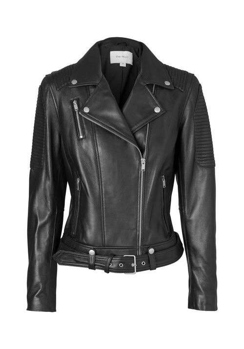 Ena Pelly - Classic Biker Jacket Black (Silver Hardware)