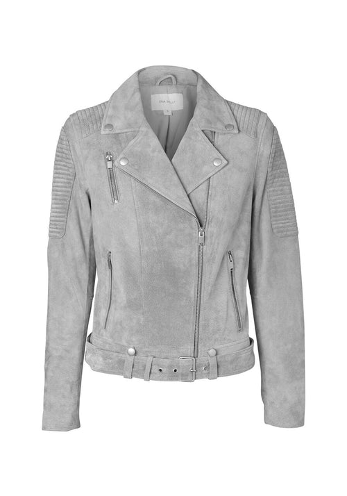 Ena Pelly - Classic Biker Jacket (Grey Suede)