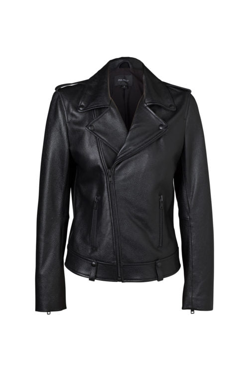 Ena Pelly - Minimalist Biker Jacket (Black Hardware)