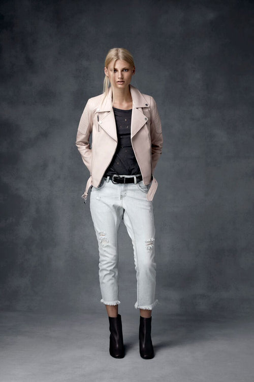 Ena Pelly - Classic Biker Jacket (Blush)