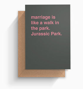 """Jurassic Park"" Wedding Card"