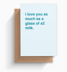 """Glass of A2 Milk"" Valentine's Card"