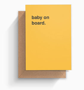 """Baby on Board"" Newborn Card"