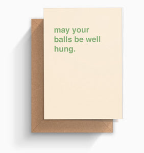 """May Your Balls Be Well Hung"" Christmas Card"
