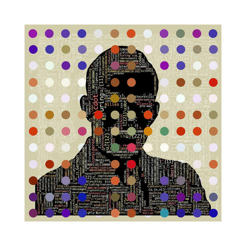 Turing Code - BFA Hub Online Art Gallery www.bfa.gallery Giclée Abstract Deco, Alan Turing, Art Deco, Deco, digital, dots, Fibonacci, fizzy, fizzy pop, new media, pointillism, pop, pop art, Pop Deco, Portraits, Saatchi, spots, Square, surreal