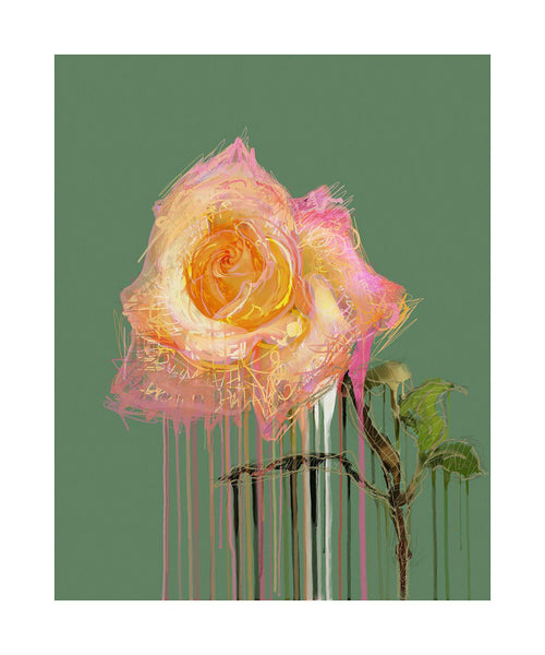 New Rose - Green - BFA Hub Online Art Gallery www.bfa.gallery Giclée Art Deco, floral, flowers, nature morte, new media, New Rose, pop art, Rose, still life, surreal