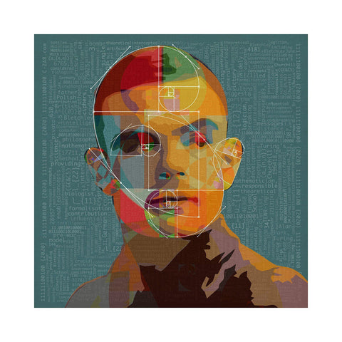 Turing Machine Code Blue - BFA Hub Online Art Gallery www.bfa.gallery Giclée Abstract Deco, Alan Turing, Art Deco, digital, Fibonacci, new media, pop, pop art, Pop Deco, Portraits, Square, surreal