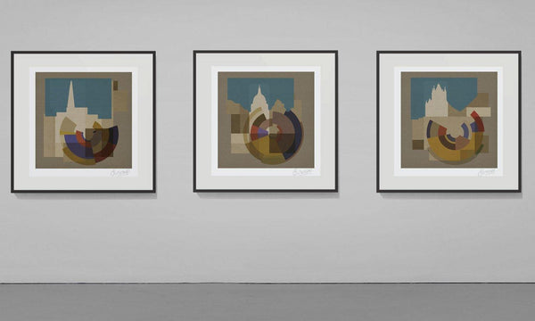 Classic Collection Prints Making Shapes Artist Czar Catstick & The Emperor's New Clothes Collective Geometric Abstracted London Landmarks Digital Composite, Painting and Montage based on London photographs including The Shard, Tower Bridge, Big Ben (Elizabeth Tower), London Eye, Battersea Power Station and Saint Paul's