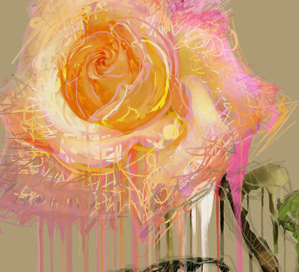 New Rose - BFA Hub Online Art Gallery www.bfa.gallery Giclée Art Deco, floral, flowers, nature morte, new media, New Rose, pop art, Rose, still life, surreal