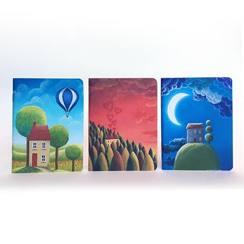 Set Of Three Pocket Notebooks (Houses)