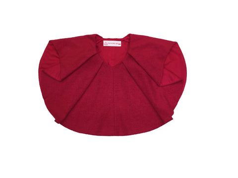 Wool Pleated Cap-Ruby