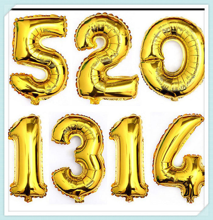 gold number foil balloon