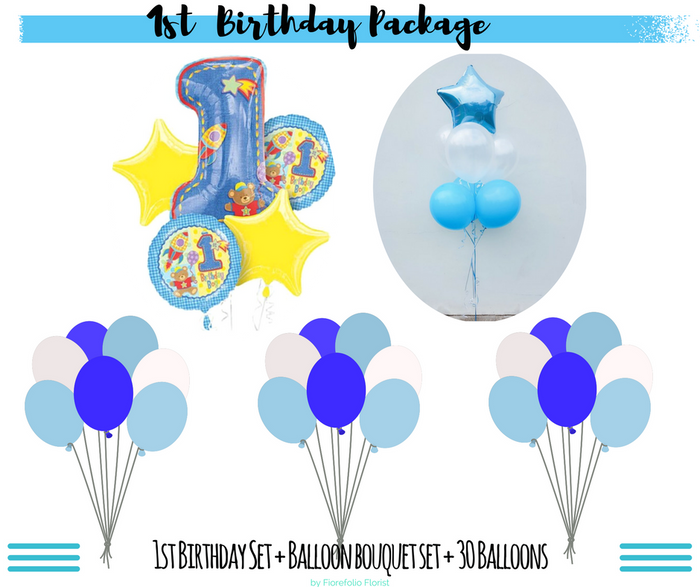 1st birthday boy balloon package