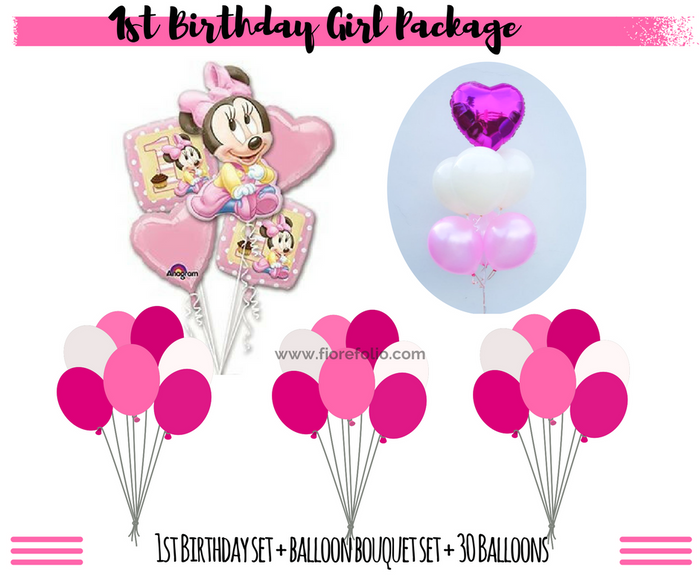 1st birthday girl balloon decorations package
