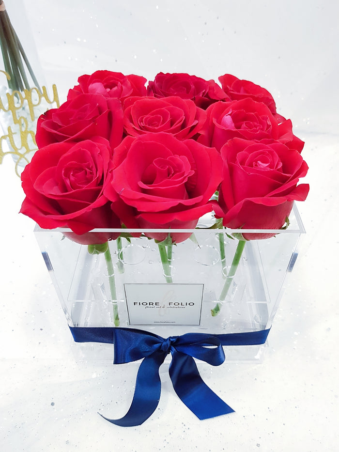 9 stalk of red roses singapore florist delivery