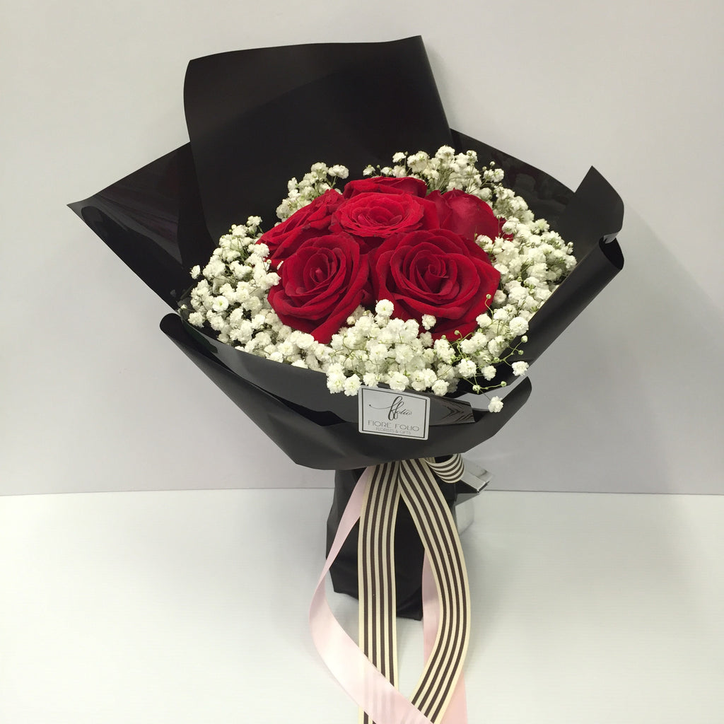 stylist red rose bouquet singapore