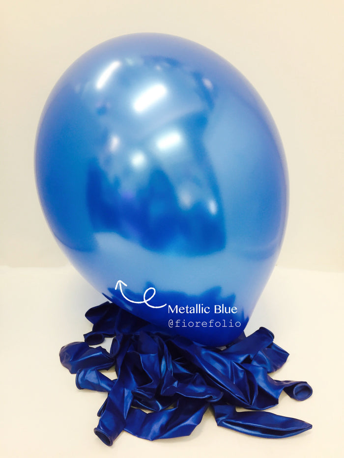 metallic blue latex helium balloon