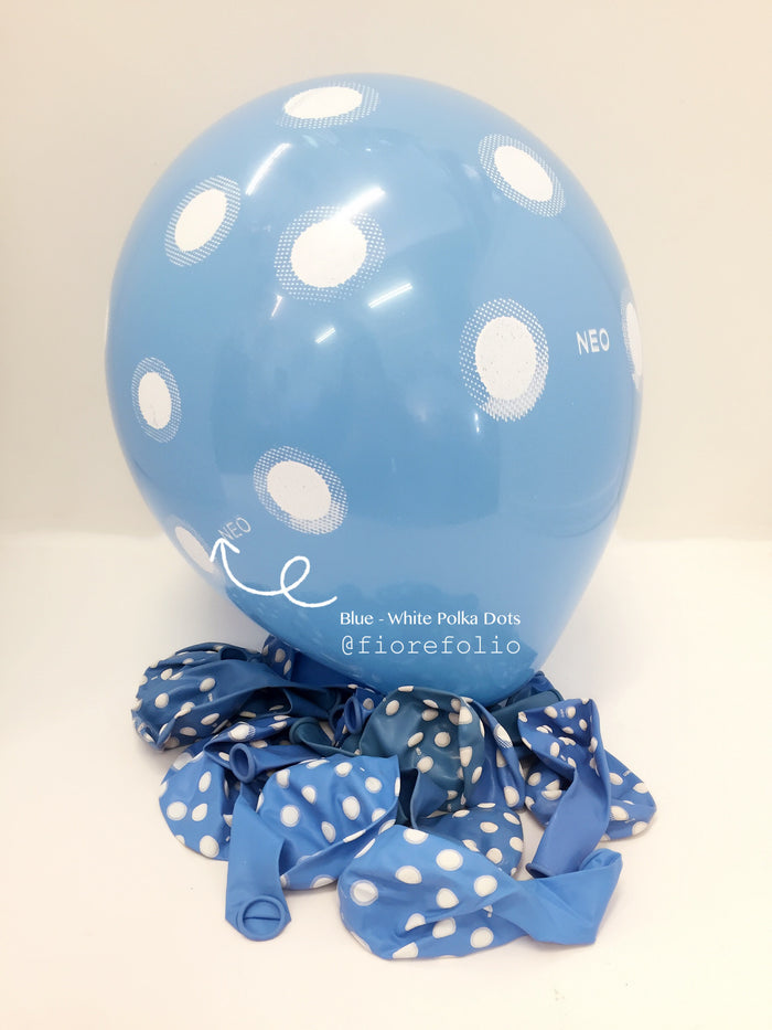 blue polka dot party helium balloon singapore