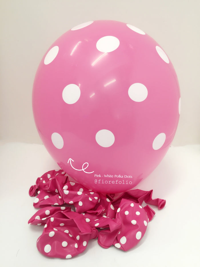 pink polka dot party helium balloon