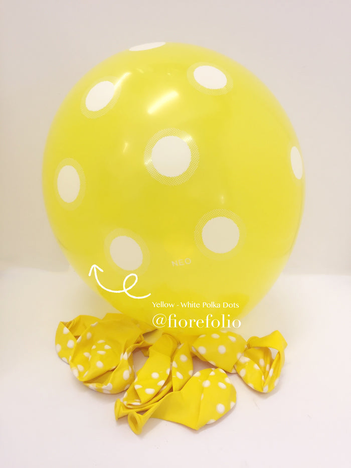 yellow polka dot party helium balloon