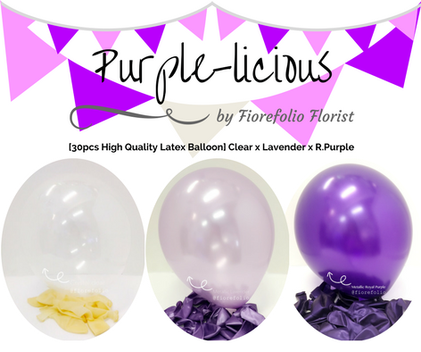 Shades of purple themed party balloon package
