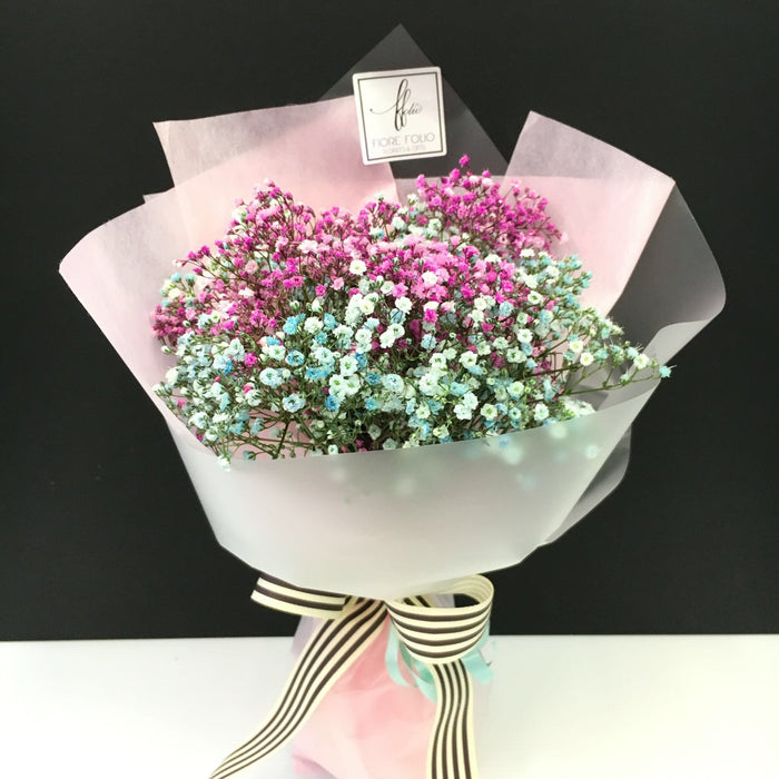 coloured baby breath bouquet singapore