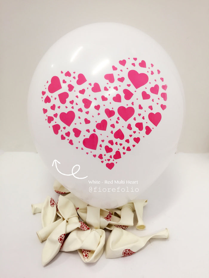 multiple heart shaped prints helium balloon for proposal and wedding