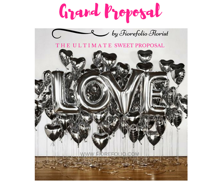 grand proposal package. love alphabet helium balloon