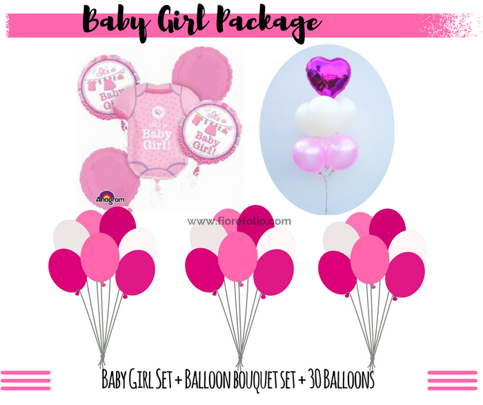 baby shower baby girl balloon decor package with balloon delivery