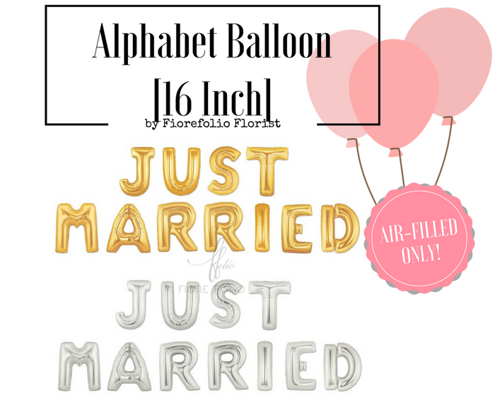just married alphabet balloon