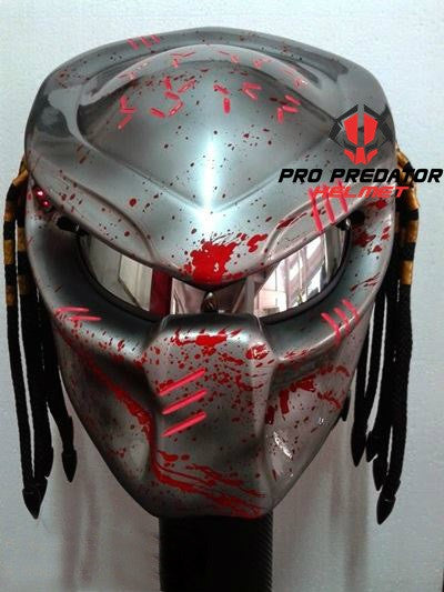 T04 Custom Predator Motorcycle Dot Approved Helmet Hand Paint Metallic Silver - Pro Predator Helmet