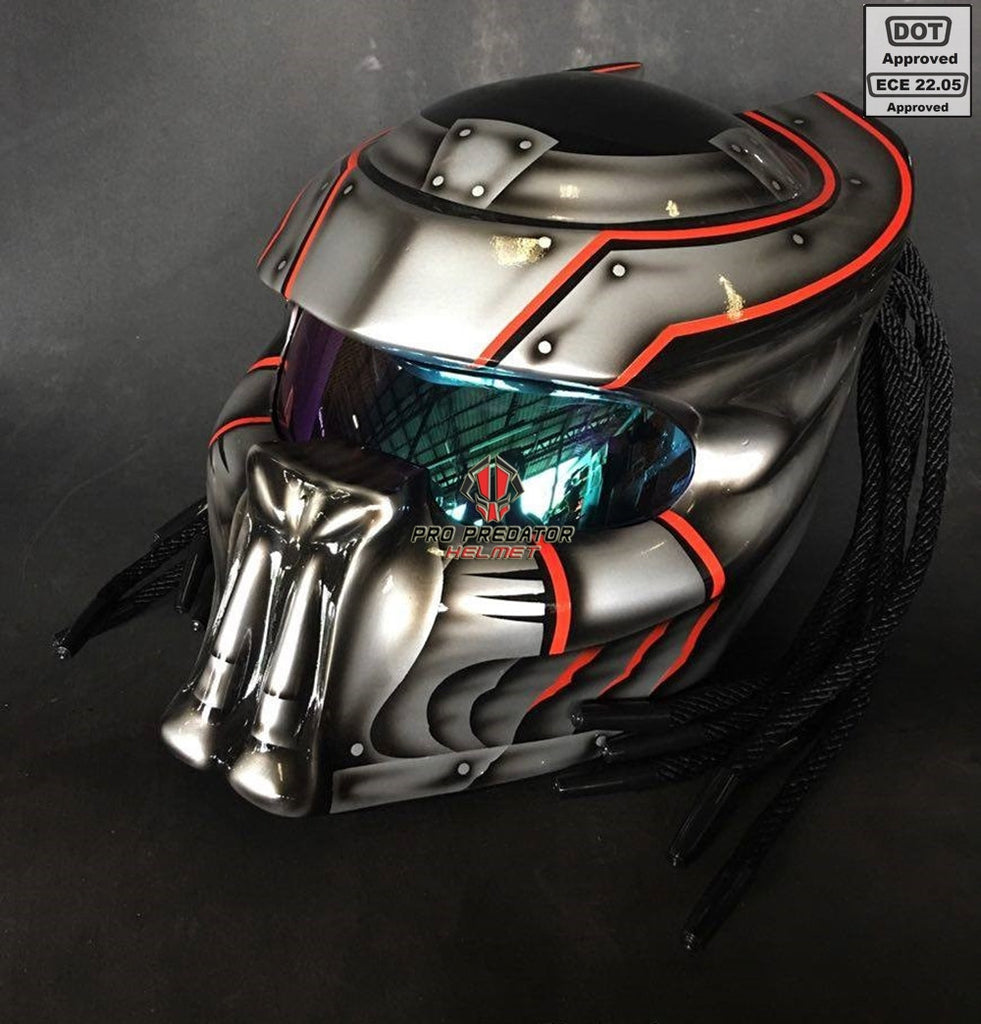SY39 Pro Predator Motorcycle Helmet MK Metallic Silver with Fang