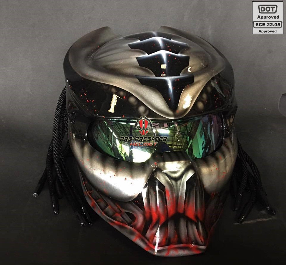 SY42 Pro Predator Motorcycle Helmet Metallic and Blood