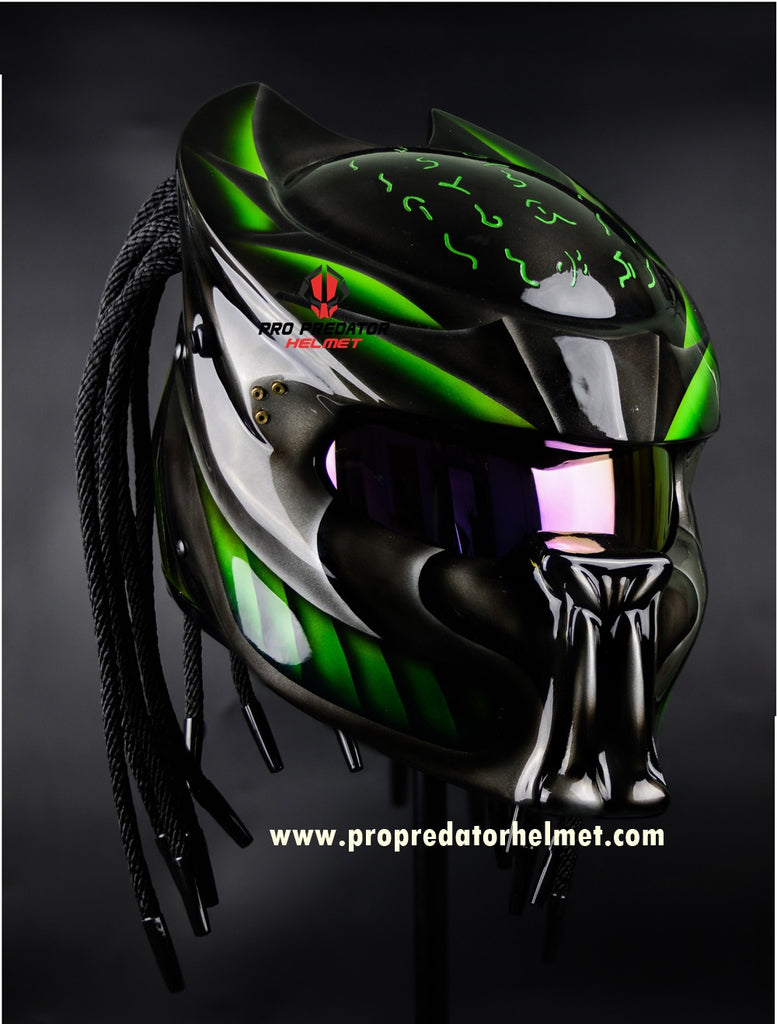 SY45 Pro Predator Motorcycle DOT Helmet Shine Black Green Graphic