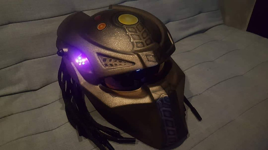 Custom Predator Motorcycle Dot Approved Helmet Tanos Avengers End Game Theme