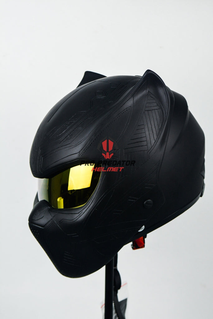 Black Panther Full Face Motorcycle Helmet Dot Approved Custom Handmade