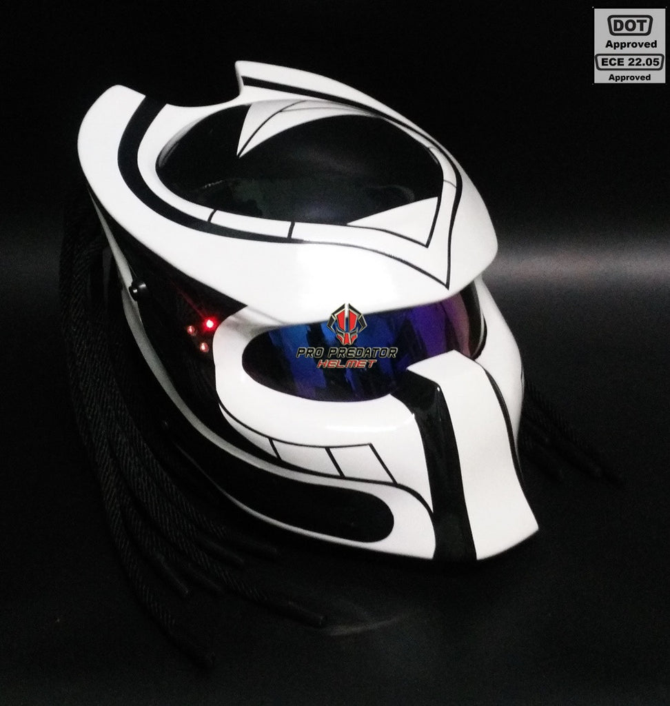 SY18 Custom Predator Motorcycle Dot Approved,ECE Helmet Black & White