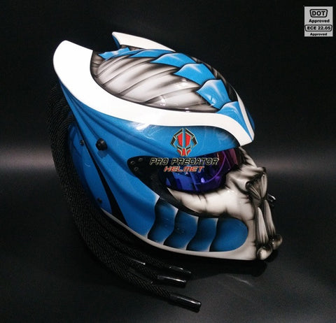 SY07 Custom Predator Motorcycle Dot Approved,ECE Helmet White & Blue