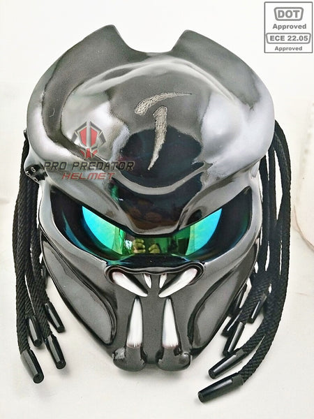 custom handmade predator motorcycle dot approved helmet shine black sy26 pro predator helmet. Black Bedroom Furniture Sets. Home Design Ideas